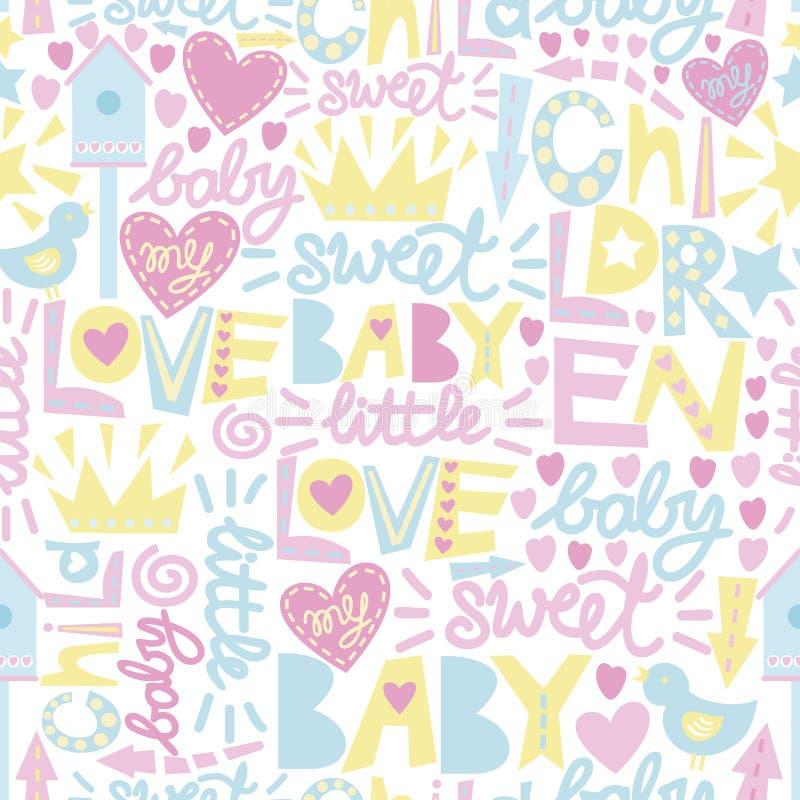 Delikatny dziecko wzór z słowami miłość i inskrypcjami, dziecko, cukierki royalty ilustracja