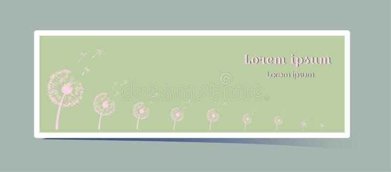 Delikatny horyzontalny sztandar z dandelion kwiatem Różowa rośliny sylwetka na trawiastym zielonym tle z przestrzeni? dla royalty ilustracja
