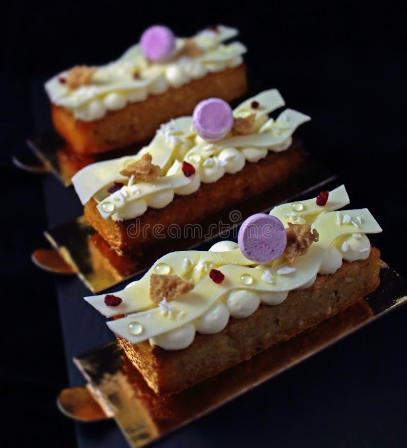 Delikatny kokosowy deser z wysuszonymi cranberries, białymi bezami, czekoladowymi i purpurowymi fotografia stock