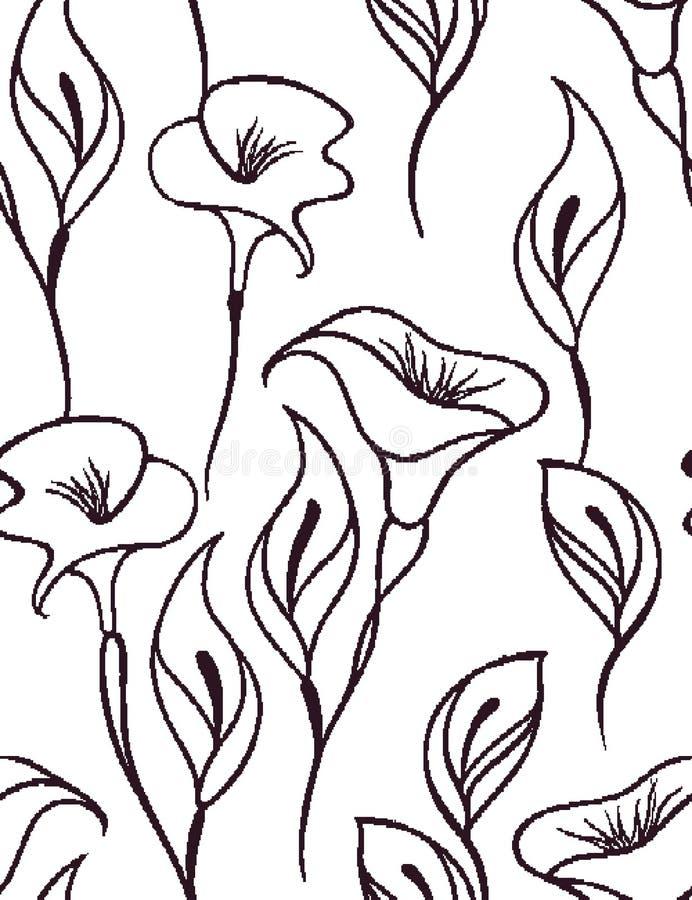 Delikatny kwiecisty bezszwowy wzór z białym tłem ilustracji