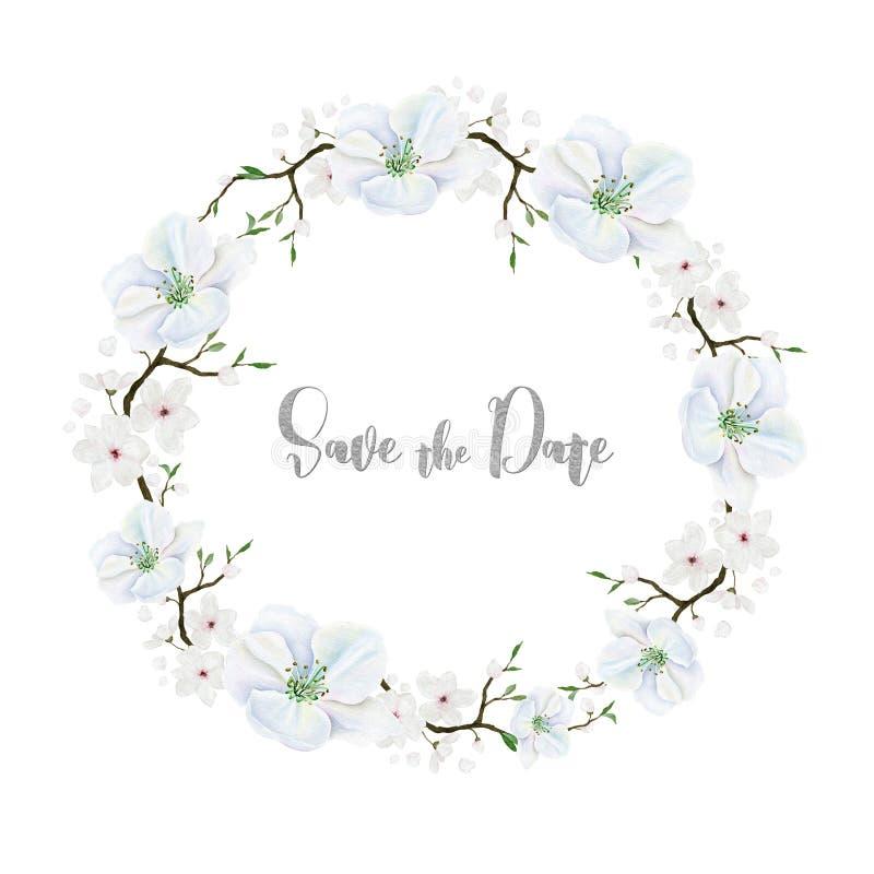 Delikatny kwiecisty wianek z białymi kwiatami akwarela ilustracji