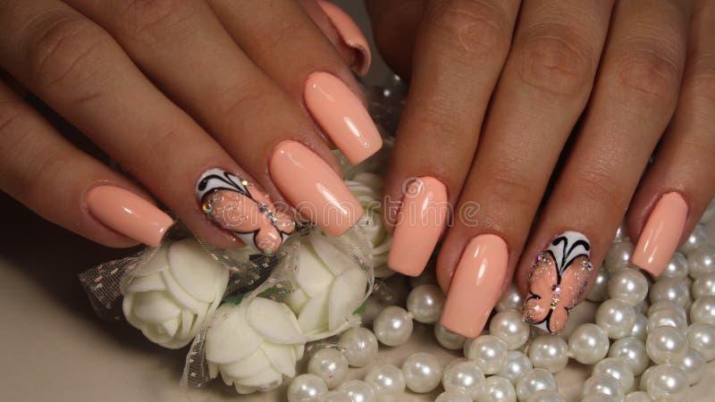 Delikatny manicure'u projekta gwoździa połysku gel obraz royalty free