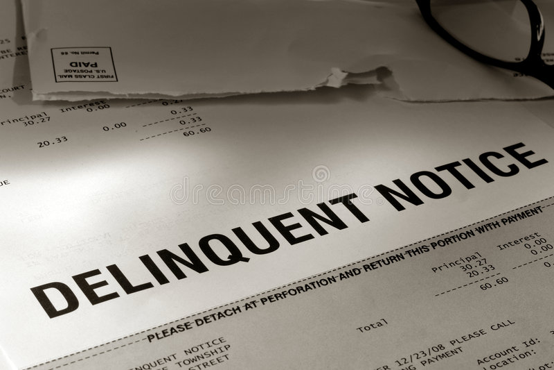 delinquent due notice past royaltyfria bilder