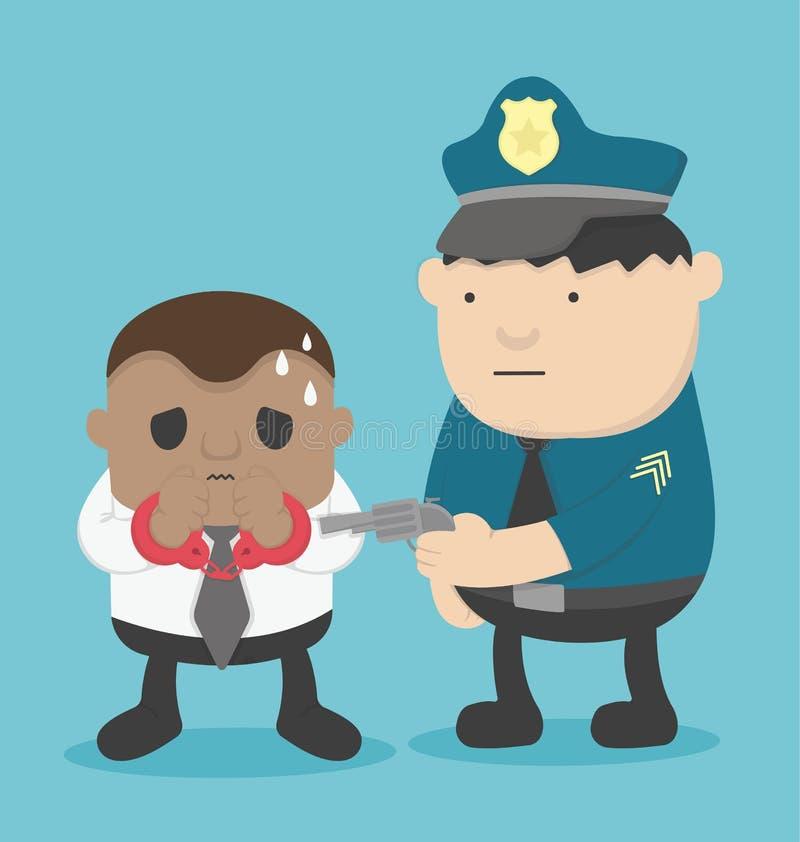 Delinquente africanos de Business do homem de negócios prendidos pela polícia ilustração do vetor