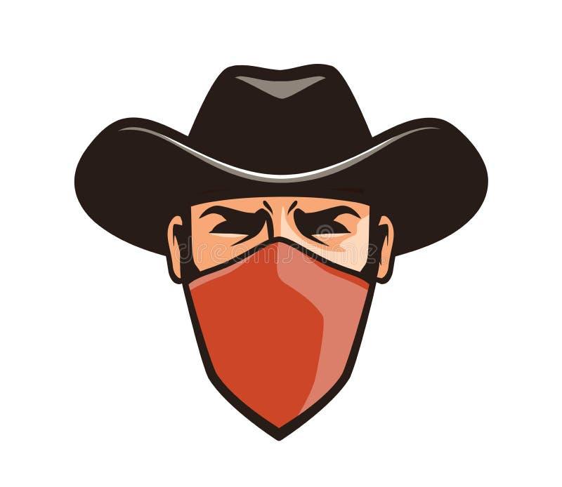 Delinquente arrabbiato nella maschera Cowboy, ladro, bandito in cappello Illustrazione di vettore del fumetto illustrazione vettoriale