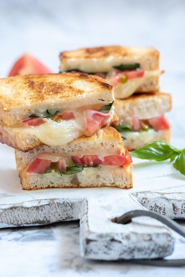 Delisious ha grigliato il panini caprese del formaggio con il pomodoro, mozzarella fotografie stock libere da diritti