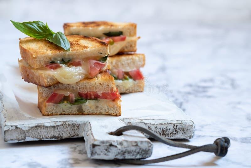 Delisious ha grigliato il panini caprese del formaggio con il pomodoro, mozzarella immagini stock