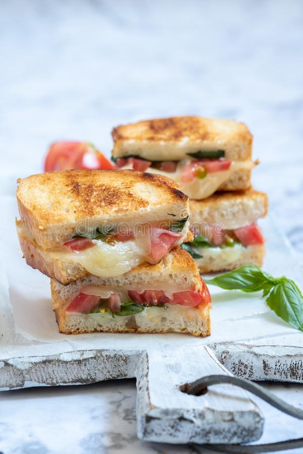 Delisious ha grigliato il panini caprese del formaggio con il pomodoro, mozzarella fotografia stock libera da diritti