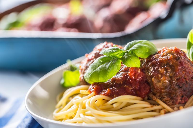 Delisious italian meal meat beef balls with pasta spaghetti and basil in white plate.  royalty free stock photography