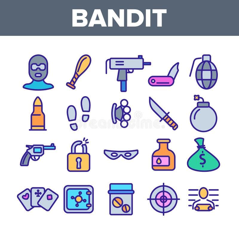 Delitos, sistema de Thin Line Icons del bandido ilustración del vector