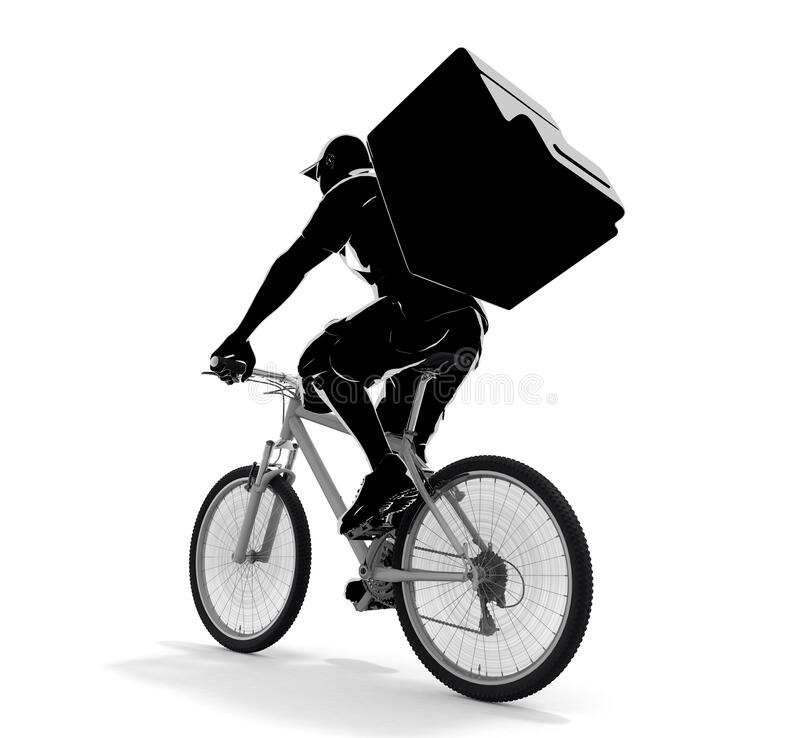 A man delivering food. A person delivering by bicycle. 3D illustration royalty free illustration