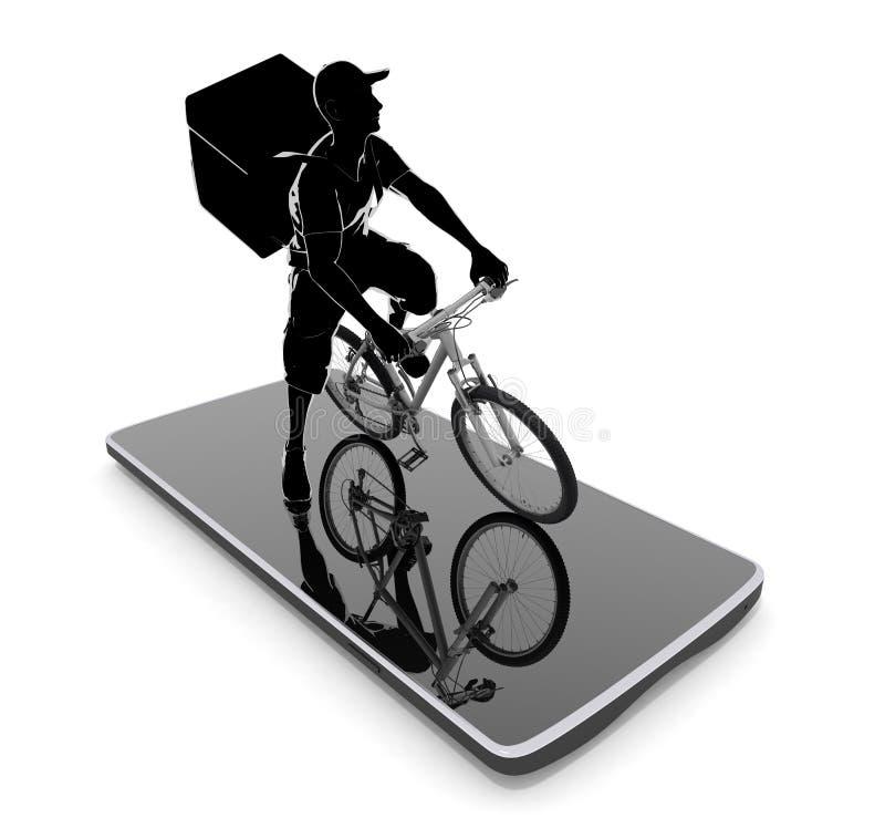 Work using a smartphone. A man delivering food. 3D illustration vector illustration