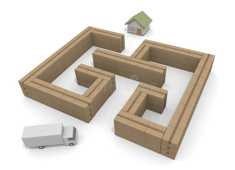 Deliver in the maze. Deliver the luggage to the house. 3D illustration royalty free illustration