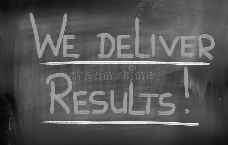 We Deliver Results Concept. Concept Handwritten With Chalk On A Blackboard stock photography
