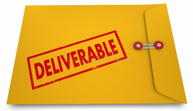 Deliverable kuvert 3d Illus för resultatproduktutvecklingprocess stock illustrationer