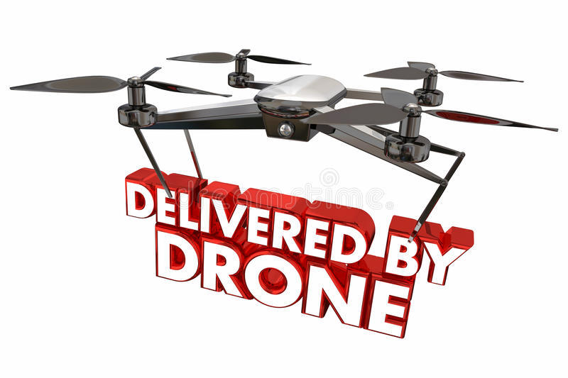Delivered by Drone Automated Delivery Packages Shipping 3d Illus. Tration stock illustration