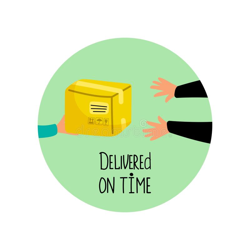 Delivered on time vector icon with package and hands. Illustration of box package delivery, service express delivering royalty free illustration