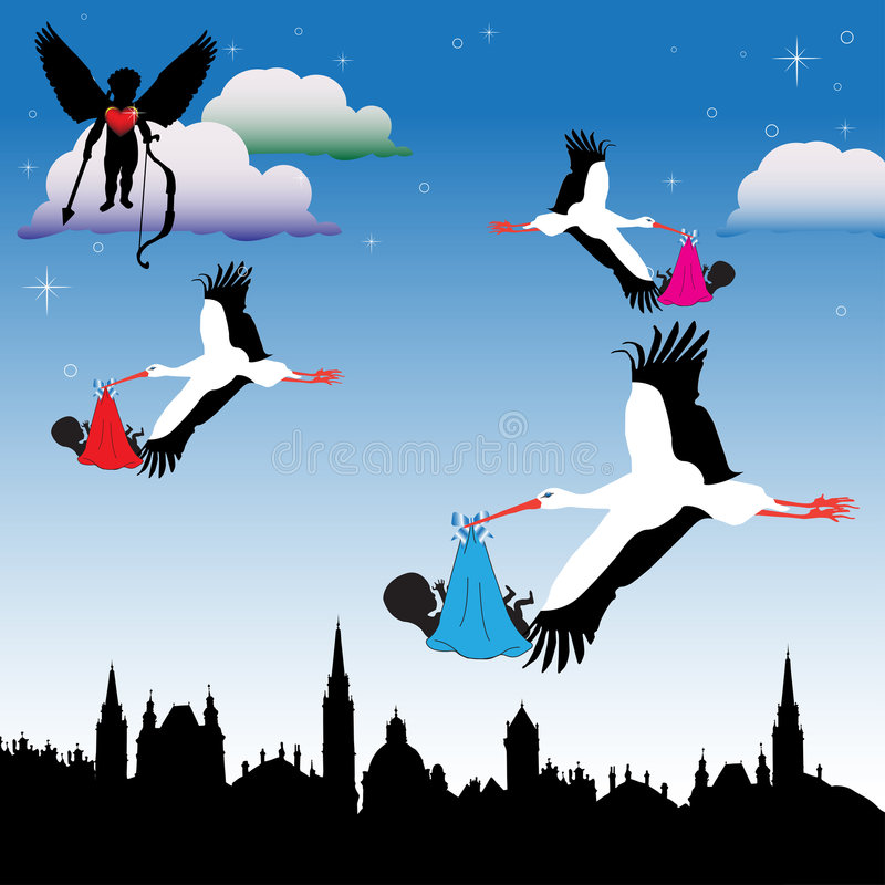 Delivering babies. Colorful illustration with cupid with arrow watching how storks are delivering babies in the town vector illustration