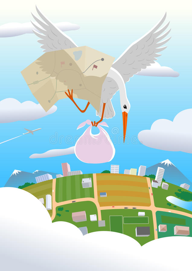 Delivering a baby. The stork delivering a baby royalty free illustration