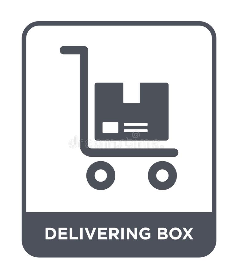 Delivering box icon in trendy design style. delivering box icon isolated on white background. delivering box vector icon simple. And modern flat symbol for web stock illustration