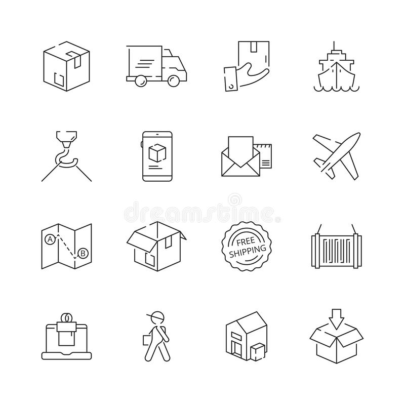 Delivering icons. Shipping logistics delivery sea freight free shipment moving items vector thin line symbols. Illustration of delivering and shipping royalty free illustration