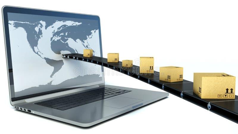 Delivering packages through a laptop screen. 3D Illustration.  stock illustration