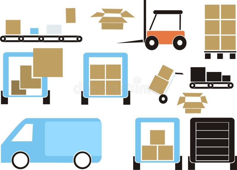 Delivering set. Vector Illustration of a delivering set royalty free illustration