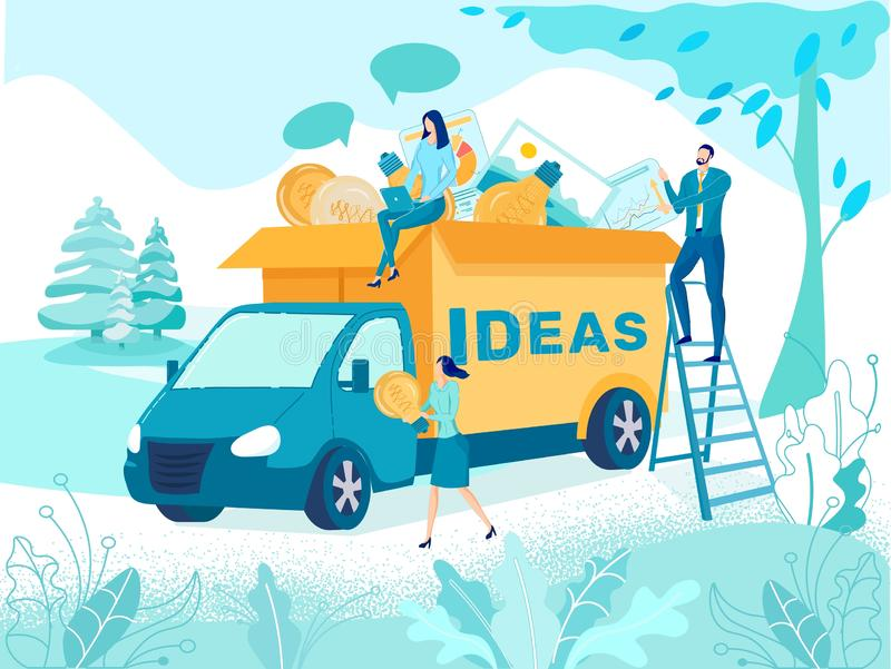 Delivering Successful Business Idea Vector Concept royalty free illustration
