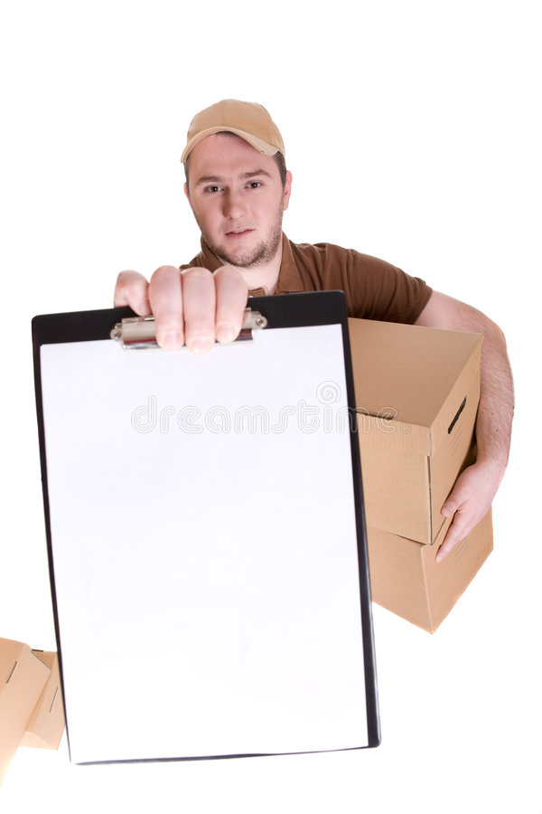 Delivery. Man with a package isolated on white background stock image