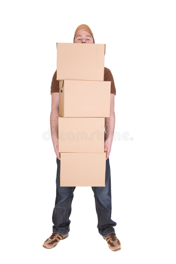 Delivery. Man with a package isolated on white background stock photography