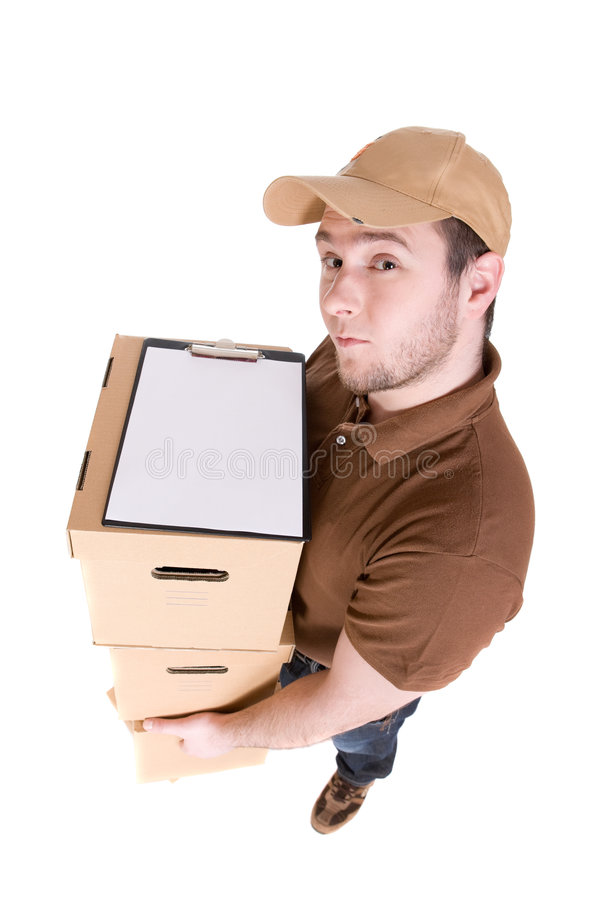 Delivery. Man with a package isolated on white background royalty free stock photography