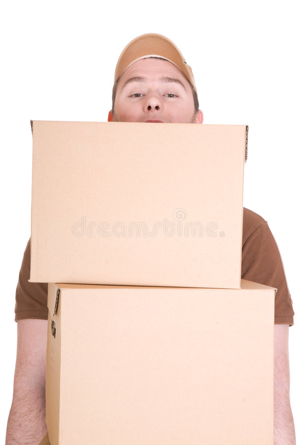 Delivery. Man with a package isolated on white background royalty free stock images