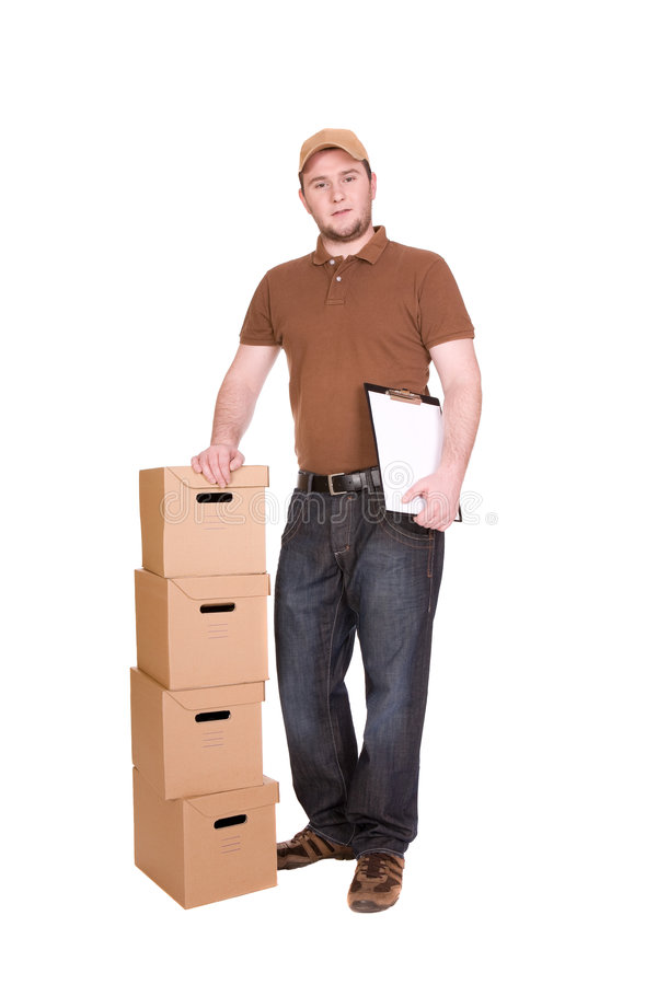 Delivery. Man with package. over white background royalty free stock photos