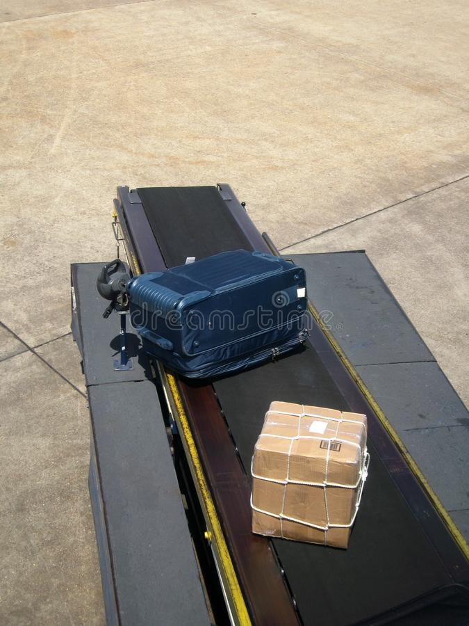 Delivery of Airplane Luggage stock image