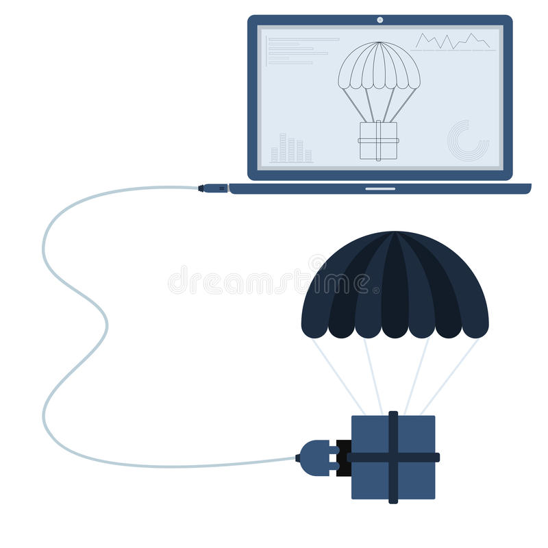 Delivery automation using laptop. Delivery connected to a laptop through a usb cable. Outline of the parachute and graphs being shown on the computer monitor royalty free illustration