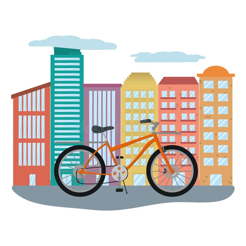 Delivery bicycle in cityscape vector illustration