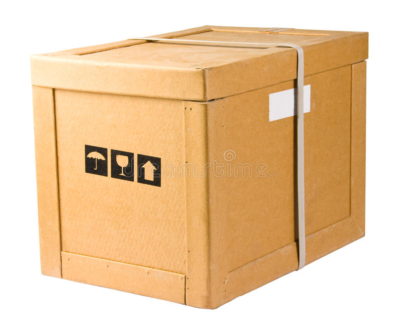 Delivery box. Carton delivery box. Isolated on white royalty free stock photo