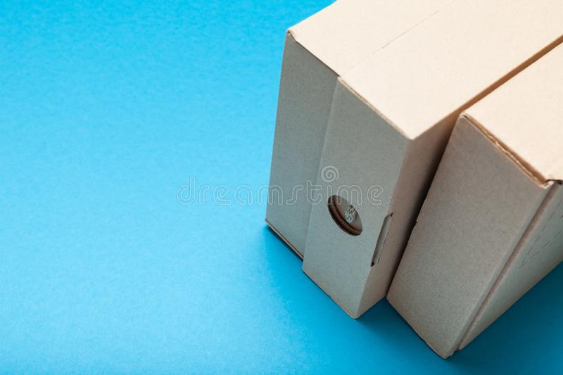 Delivery box, arboreal cargo. Copy space for text.  royalty free stock photography