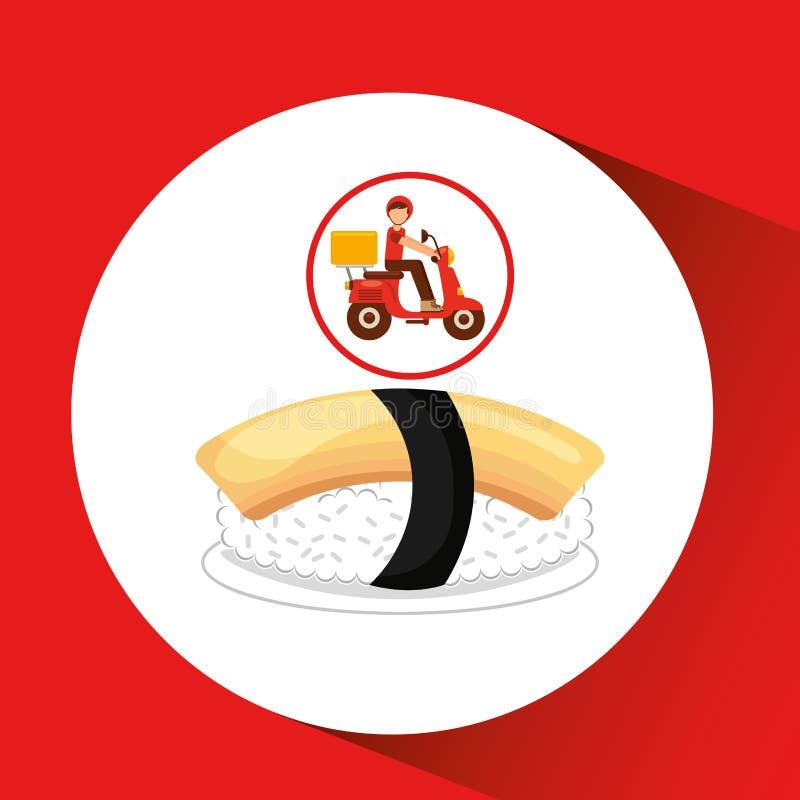 Delivery boy ride motorcycle nigiri sushi. Vector illustration eps 10 stock illustration