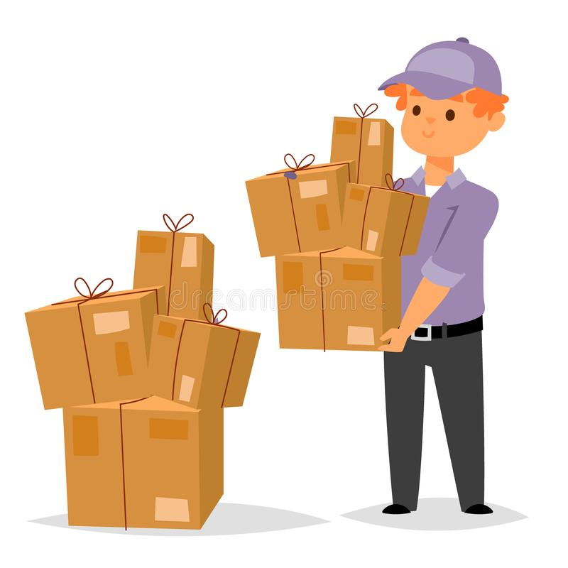 Delivery man boy vector service workers and clients couriers delivering man characters shop mailmen bringing packages. Delivery boy service workers and clients stock illustration