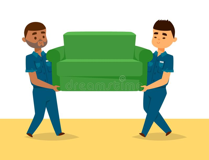 Delivery man boy vector service workers and clients couriers delivering man characters shop mailmen bringing packages vector illustration