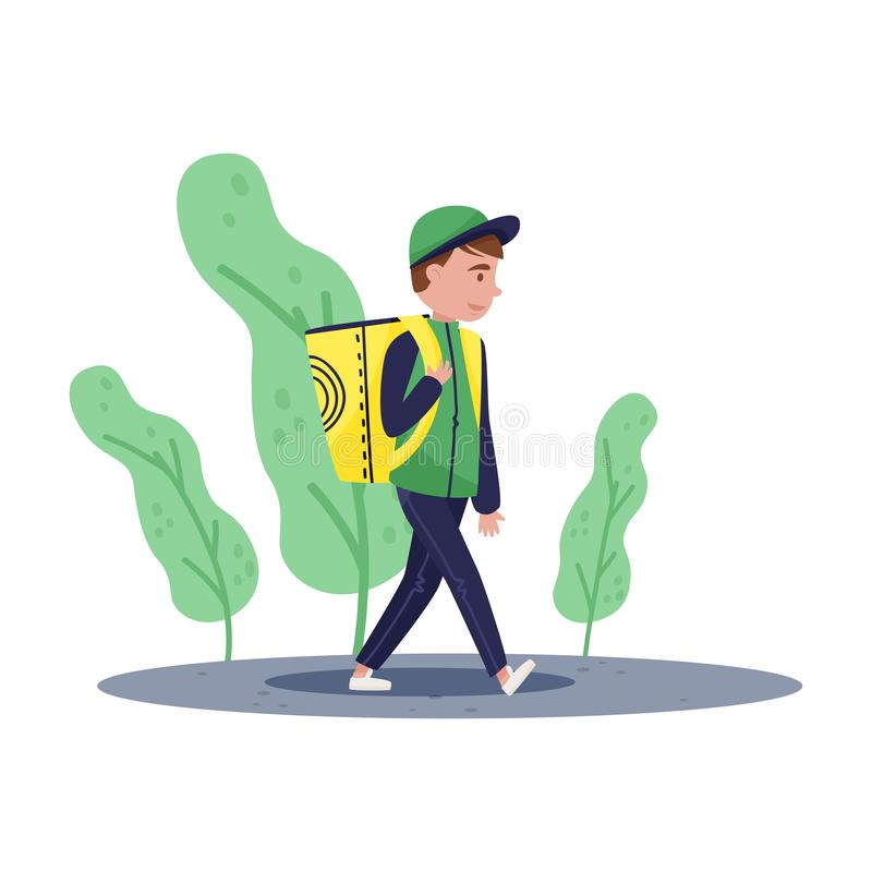 Delivery boy walking by street with yellow backpack. Food service. Cartoon character. Flat vector design stock illustration