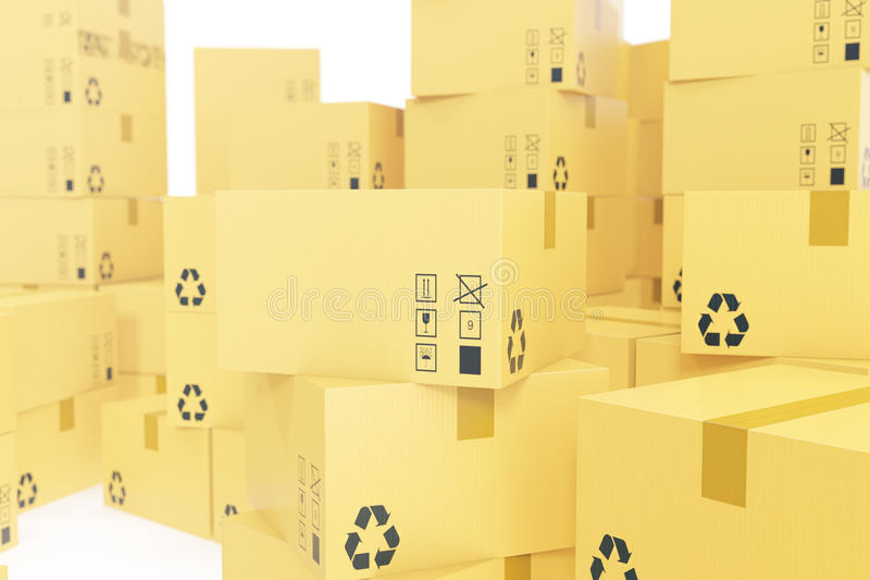 Delivery business concept, stack of corrugated cardboard box, packages isolated on white. 3d rendering vector illustration