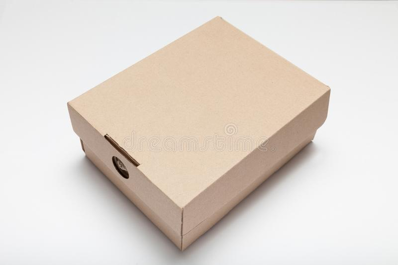 Delivery cardboard parcel, consumer shipping. Box package mockup.  royalty free stock photography