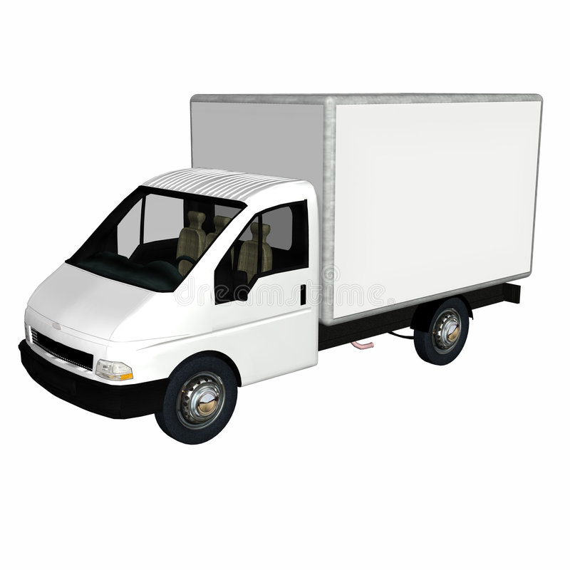 Delivery Cargo Truck 1. White Delivery / Cargo Truck with blank body ready for your text. Isolated on a white background royalty free illustration