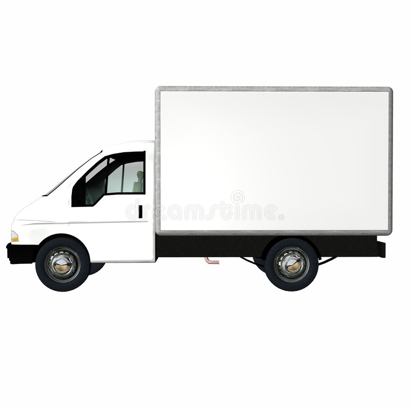 Delivery Cargo Truck 2. White Delivery / Cargo Truck with blank body ready for your text. Isolated on a white background vector illustration
