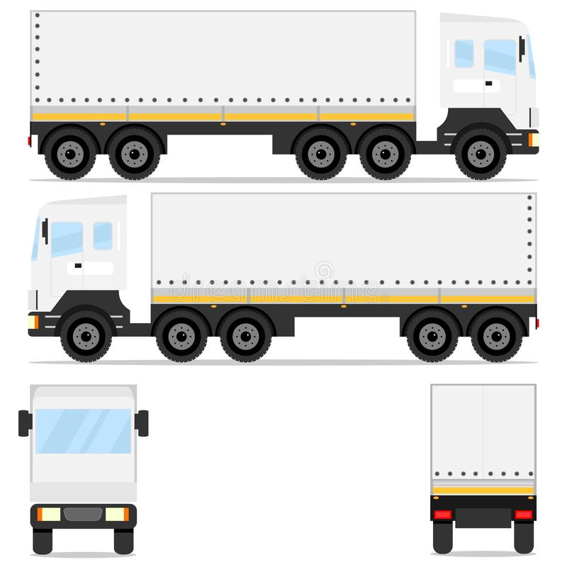 Delivery. Cargo Truck. A big truck from different directions. vector illustration