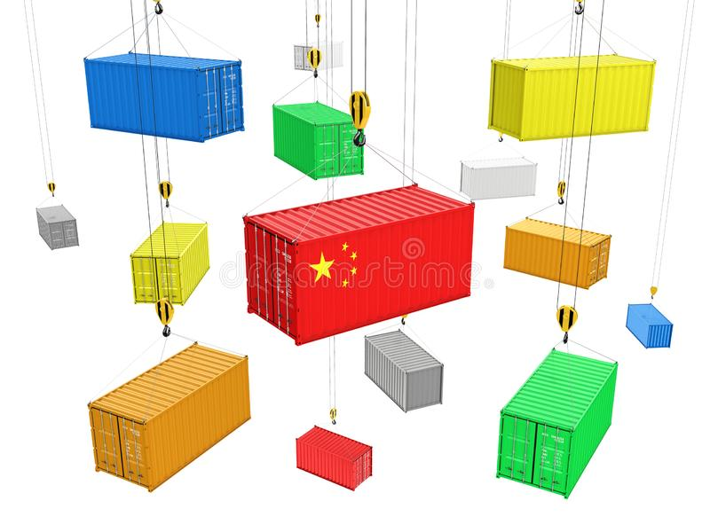 Delivery from China background concept Cargo shipping containers The crane lifts the containers on white  background 3d royalty free illustration
