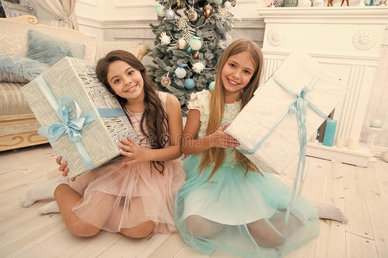 Delivery christmas gifts. Family holiday. happy new year. happy little girls sisters celebrate winter holiday. christmas stock photography
