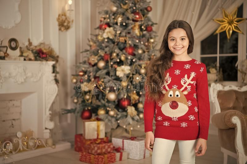 Delivery christmas gifts. happy new year. happy little girl celebrate winter holiday. christmas time. Cute little child royalty free stock photography